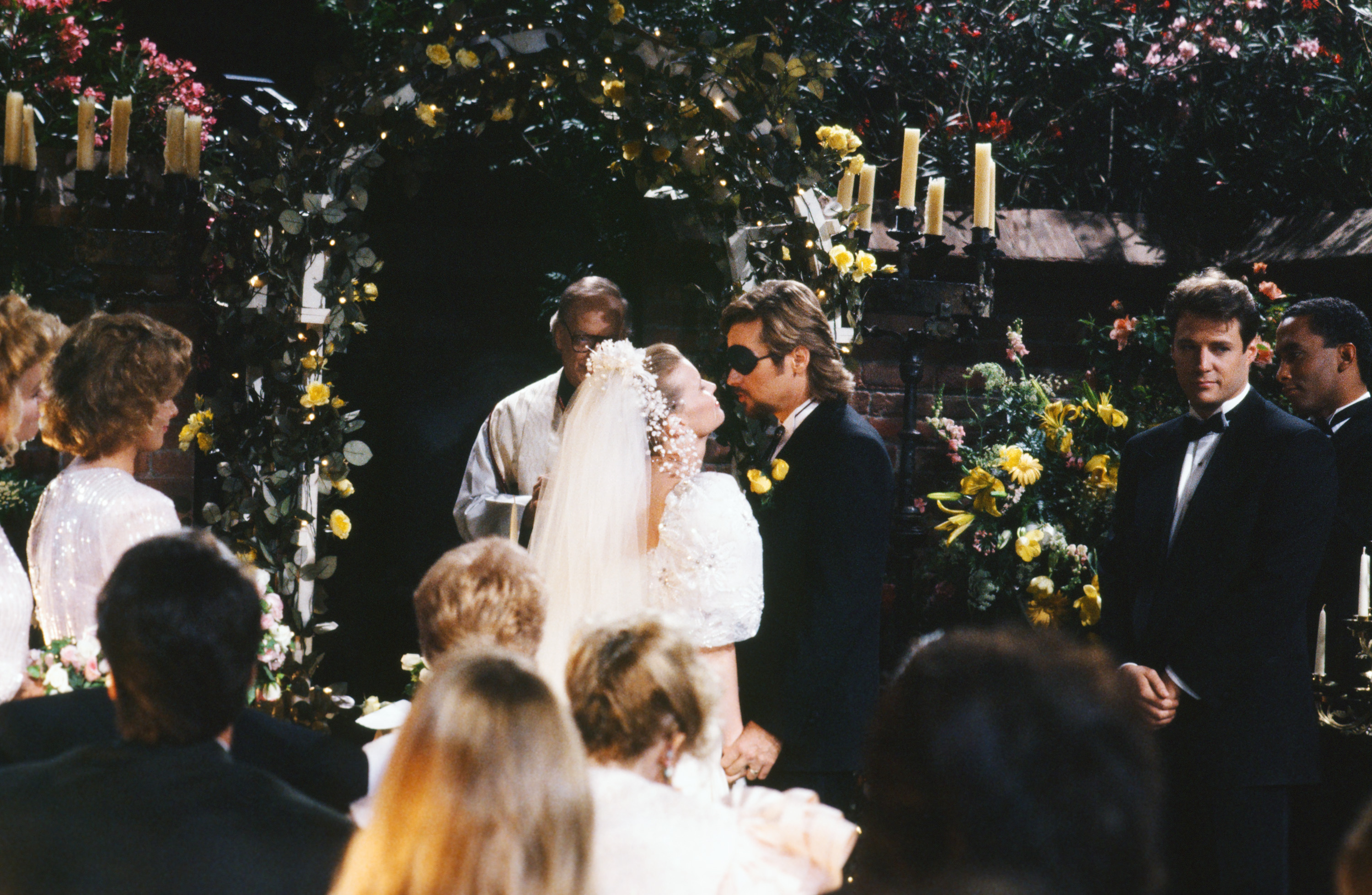 "DAYS OF OUR LIVES -- ""Patch Johnson & Kayla Brady Johnson 2nd Wedding"" -- Pictured: (l-r) Anne Howard as Kimberly Brady, Mary Beth Evans as Dr. Kayla Brady Johnson, Stephen Nichols as Steve ""Patch"" Johnson, Matthew Ashford as Jack Deveraux  (Photo by Alice S. Hall/NBC/NBCU Photo Bank via Getty Images)"