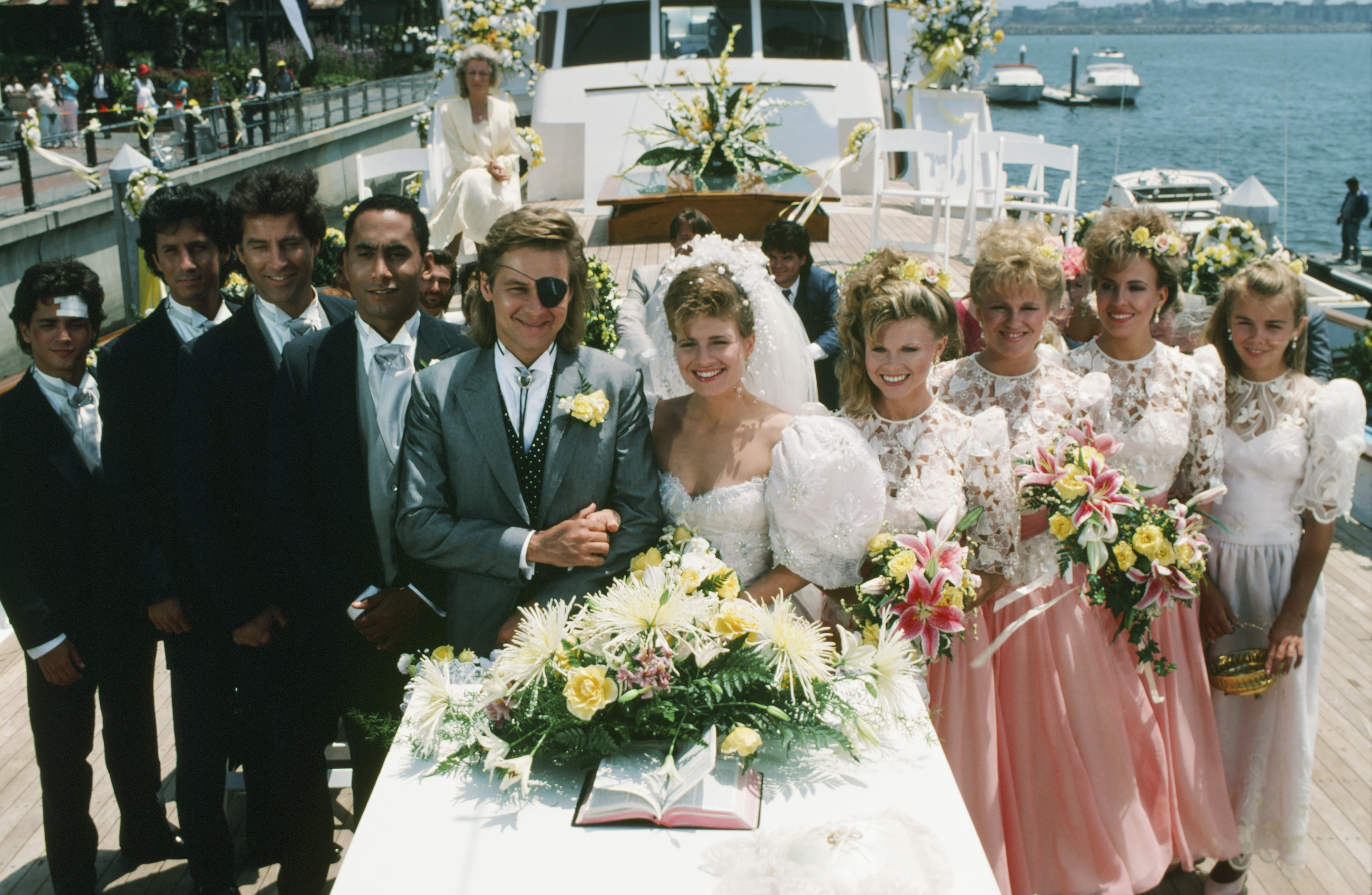 "DAYS OF OUR LIVES -- ""Patch Johnson & Kayla Brady 1st Wedding"" --Pictured: (l-r) Billy Warlock as Frankie Brady, Charles Shaughnessy as Shane Donovan, Drake Hogestyn as John Black/Roman Brady, Richard Biggs as Marcus Hunter, Stephen Nichols as Steve ""Patch"" Johnson, Mary Beth Evans as Dr. Kayla Brady Johnson, Patsy Pease as Kimberly Donovan, Judi Evans as Adrienne Johnson, Genie Francis as Diana Colville, Christie Clark as Carrie Brady -- (Photo by: Ron Tom/NBC/NBCU Photo Bank via Getty Images)"
