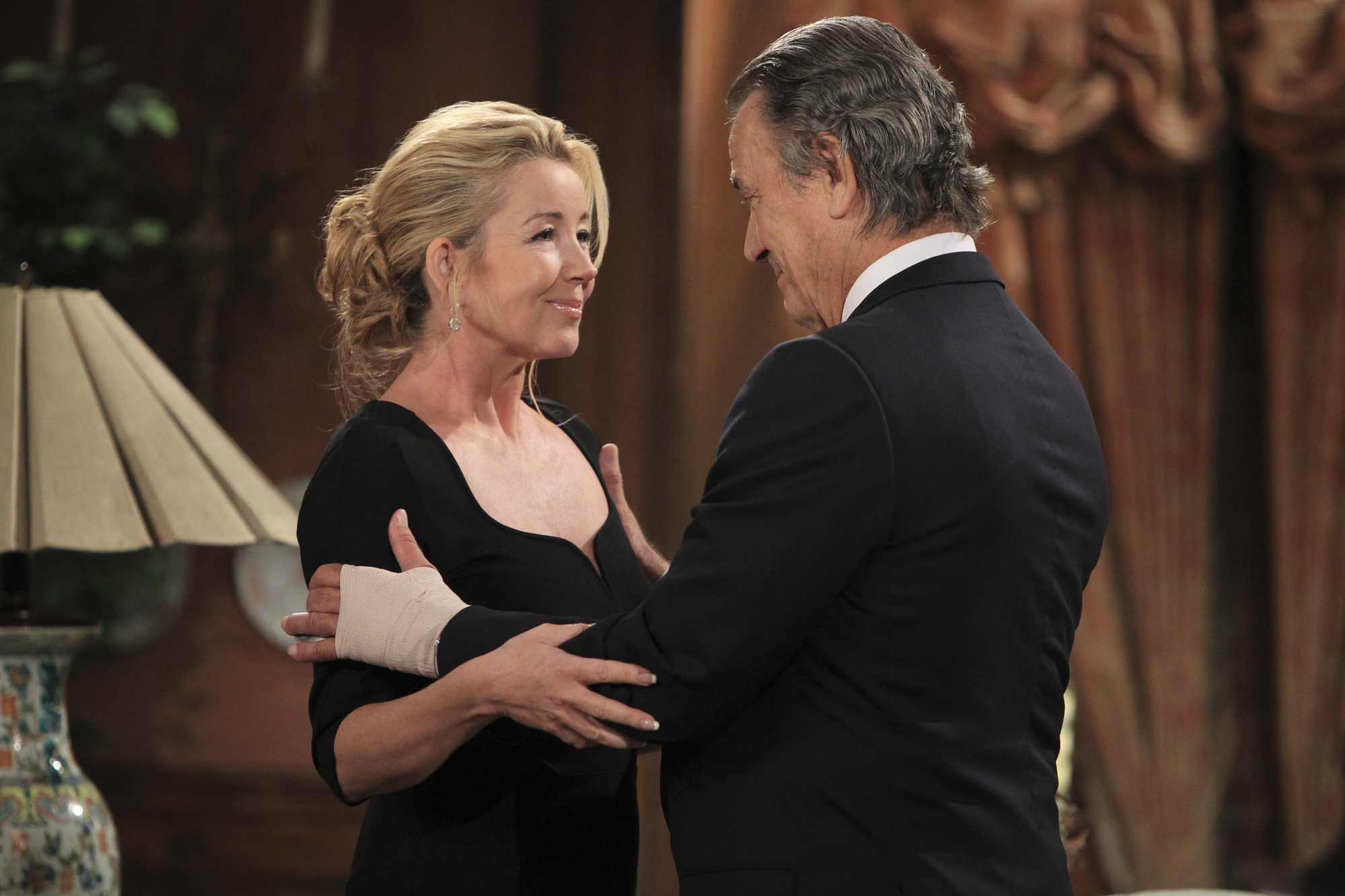 LOS ANGELES - AUGUST 22: 10,000 Episode  Nikki (Melody Thomas Scott, left) and Victor Newman (Eric Braeden, right) joyfully reunite on the 10,000th episode of CBS' THE YOUNG & THE RESTLESS airing Thursday, Sept. 27. (Photo by Sonja Flemming/CBS via Getty Images)